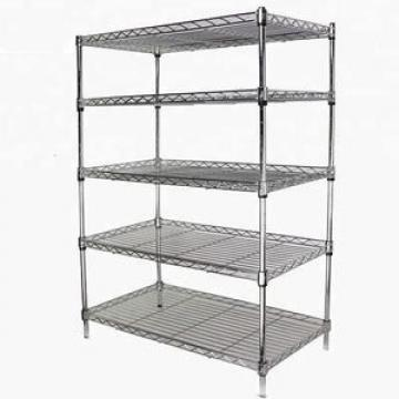 NSF Approval 5 Tier Heavy Duty Commercial Chrome Silver Steel Storage Wire Shelving Rack 60 X 24 X 72 Inch
